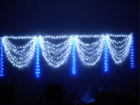 blue and white led curtain light