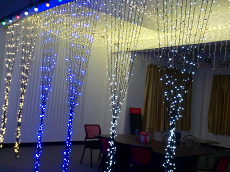blue led curtain